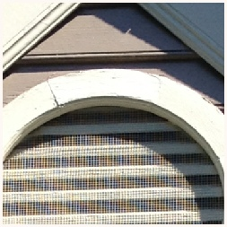 Vent has been screened to prevent birds